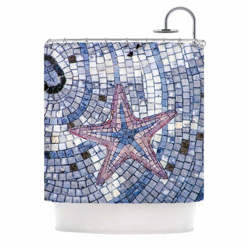"Debbra Obertanec ""Mosaic Starfish"" Nautical Blue Shower Curtain"