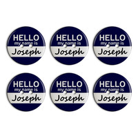Joseph Hello My Name Is Plastic Resin Button Set of 6