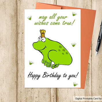 Instant Download,Printable Birthday Card ,Frog card,Digital Template, Birthday Card ,Includes Printable Envelope A2,HAPPY BIRTHDAY CARD