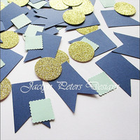 Party Or Wedding Confetti, Navy, Gold Glitter, Mint Green, Bunting Flags, Dessert Table Decor, Bridal Shower Supply, Baby Shower, 150 Piece