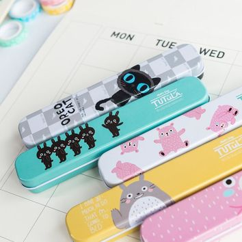 1X Cute Kawaii Totoro Oreo Cat Portable Metal Tin Pencil Pen Case Storage Case Box Student Stationery School Office Supply