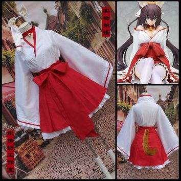 Anime Inu X Boku SS Girl Cosplay Costume Female Japanese Lolita Kimono Dresses Shirakiin Riricho Cosplay Clothing with Fox Tail