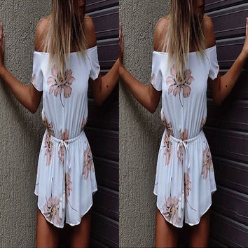 Summer Women's Fashion White Floral Print Jumpsuit [6343448641]