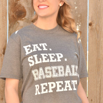 Eat. Sleep. Baseball. Repeat. Tee - Gray