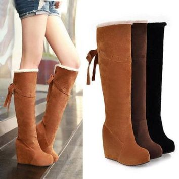 PEAPIX3 Winter Fur Lining Tall Womens Boots Fashion Knee High Platform Wedge Boots = 1932855940
