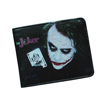 Comics Dc MOVIE The Joker Wallet Avenger Villains Wallet Leather Anime Batman Purses ID Card Holder Short Cartoon Wallet For Boy