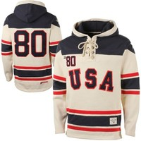Old Time Hockey USA Hockey 2014 Winter Olympics 1980 Sawyer Home Lace Pullover Hoodie Sweatshirt - Cream