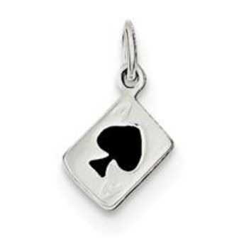 Enameled Ace Of Spades Card Charm in Sterling Silver