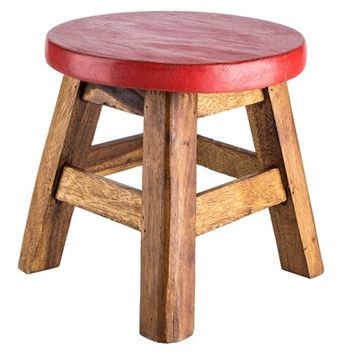 Antique Red & Natural Wood Foot Stool | Shop Hobby Lobby