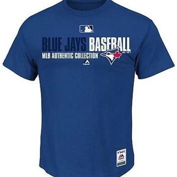 Toronto Blue Jays MLB Majestic Blue Authentic Collection Men's Tee Shirt Mens Big & Tall Sizes (3XT [XXXL-Tall])