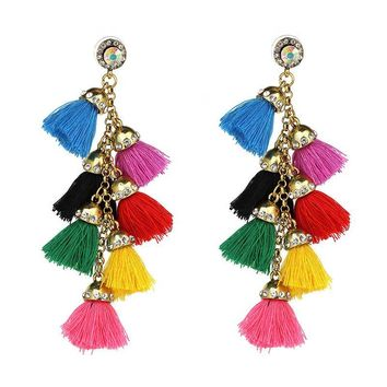 Moroccan Bazaar Crystal Tassel Earrings