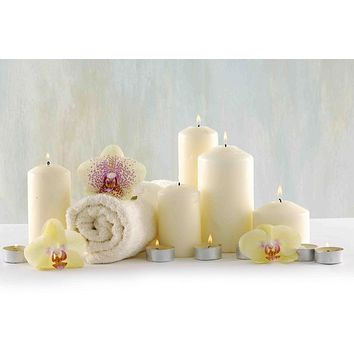 "LED Lighted Candle Orchid Spa Inspired Canvas Wall Art 11.75"" x 15.75"""