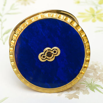 Powder Compact, Kigu Powder Compact, Blue Mirror Compact, Convertible Compact, Gold, Marbled Effect, Purse Accessory, Dressing Table - 1980s