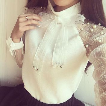 2017 New Spring Elegant Long Sleeve Beaded Organza Bow Of Pearl White Blouse Casual Chiffon Shirt Women Blouses Tops Blusas
