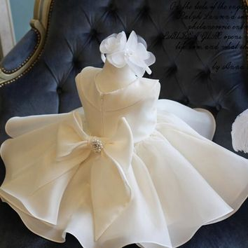 Top Quality Big Bow Girls Pageant Dresses For Baby Girl Princess Flower girl Dresses Kids Formal Wedding Party Christening Gown