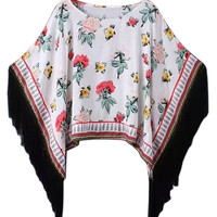 White Fringe Floral Poncho Top