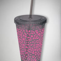Leopard Print Cup with Straw