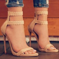 New Corner Ring Knitted High-heeled Sandals with Open Toes