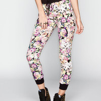 Full Tilt Floral Womens French Terry Jogger Pants Multi  In Sizes