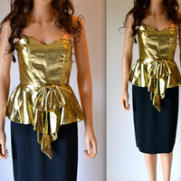 Gold Metallic 80's Prom Dress Size XS Gold Lame Strapless 80s Party Dress Size Small