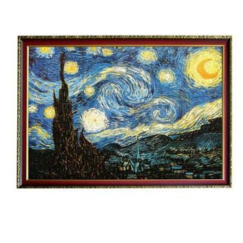 Puzzle Adulto 3D Puzzle 2000 Pieces Old Master Oil Painting Starry Night Wooden Paper Puzzle