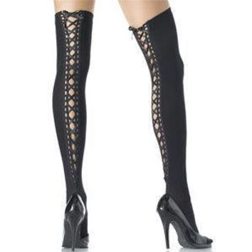 Black Lace Up Thigh High Stockings