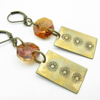 Aged Brass Sun Stamped Earrings  Copper Swarovski Crystals Handmade Rustic Brass and Crystal Earrings Gifts Under 30 BooBeads Sun Inspired