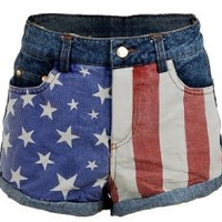 US USA American Flag Printed Low Rise Denim Jeans Women's Shorts Hot Pants - Medium