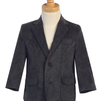 Dark Charcoal Grey Corduroy Blazer Jacket Single Breasted 2 Button Closure (Boys from 18 months to size 14)