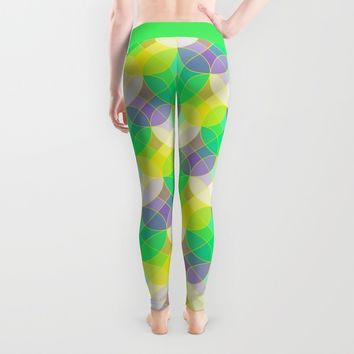 Elegant stained glass tiles mosaic. Abstract circles and squares geometric pattern. Leggings by Natalia Bykova