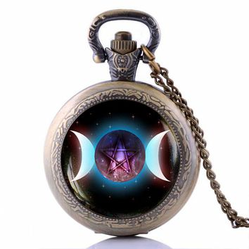 Occult Gothic Wicca Triple Moon Pentagram Pocket Watch Necklace Long Necklaces for Women Men