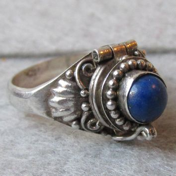 Dainty Sterling Silver & Lapis Lazuli Vintage Poison Ring, Size 4.5