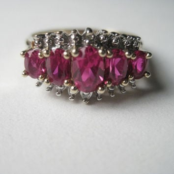 Vintage 10kt Gold, 5 Ruby/Spinel Stones, Oval Cut, Diamond Ring, sz. 7.5 - GREAT