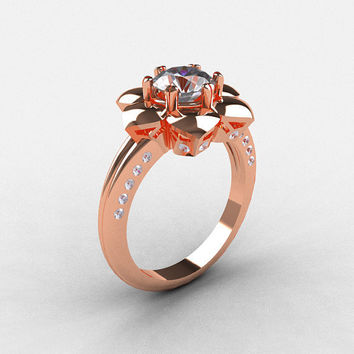14K Rose Gold White Sapphire Diamond Wedding Ring, Engagement Ring NN102-14KRGDWS