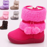 Hot New Baby Kid Girl Toddler Infant Winter Snow Keep Warm Crib Shoes Fur Boots = 1931548548