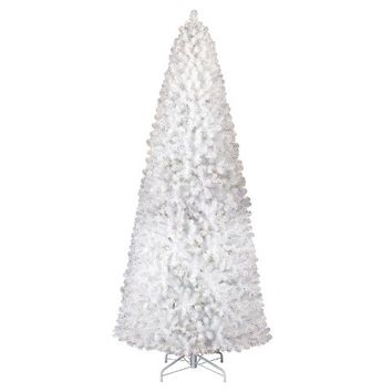 10.5 ft. Pre-Lit White Alberta Spruce Artificial Christmas Tree- Clear Lights