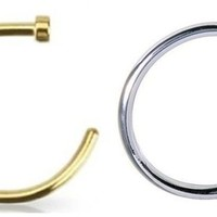 2pcs 20g Gold & Silver Plated Nose Ring Piercing Hoop 20 Gauge 5/16""