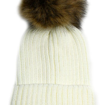 Large Fur Pom Pom Slouchie Knit Beanie Hat - Cream/Tan