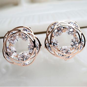 Real plated rose flower loop zircon stud earring with silver needle, new spring stud earring