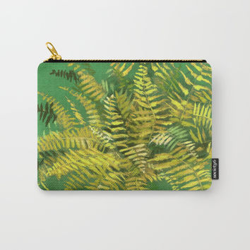 Golden Fern, floral art, green and yellow Carry-All Pouch by Clipso-Callipso