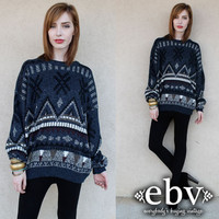Vintage Oversized Sweater Vintage 80s Southwestern Sweater Jumper S M L XL