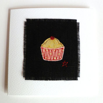 Cake birthday card. Blank handmade greeting or thank you card with cute embroidered cupcake design. Made in Lincolnshire, UK. Ready to ship.