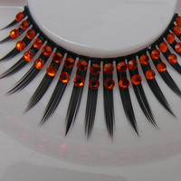 A Flame in Your Heart - Ultra Sparkly Exclusive False Eyelashes with Orange Red Preciosa Crystal Diamante for all PinUp Divas