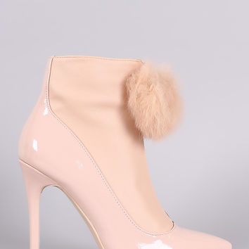 Privileged Pom Pom Zip Up Front Stiletto Heeled Booties