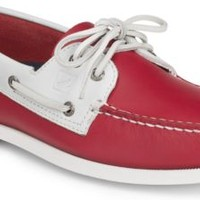 Sperry Top-Sider Authentic Original Flag Day 2-Eye Boat Shoe Red/WhiteLeather, Size 9M  Men's Shoes