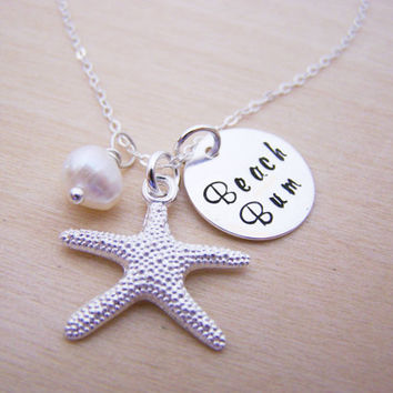 Beach Bum Necklace - Beach Necklace - Starfish Necklace -  Freshwater Pearl - Nautical Necklace - Hand Stamped - Gift for Her