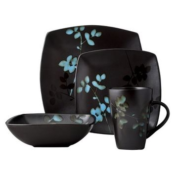 Threshold™ 16 Piece Eventide Bloom Dinnerware Set - Black