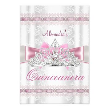 Vintage Damask Quinceanera 15th Birthday Party 3.5x5 Paper Invitation Card