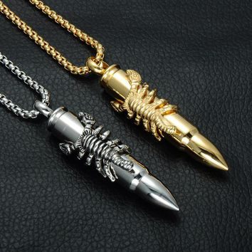 Men Silver Gold Stainless Steel Punk Scorpion Bullet Pendant Chain Necklaces