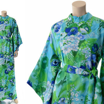 Vintage 60s Hawaiian Kimono Caftan Maxi Dress 1960s Sun Fashions of Hawaii Floral Boho Hippie Luau Dress Kaftan / Large / X-Large